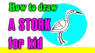 How to draw a STORK for kids