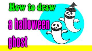 How to draw a halloween ghost for kids