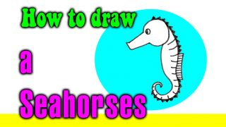 How to draw a Seahorses for kids