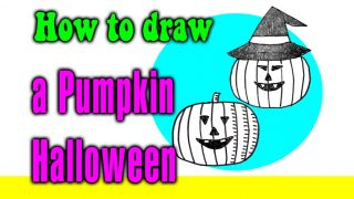How to draw a pumpkin halloween for kids