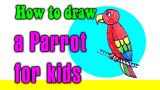 How to draw a Parrot for kids