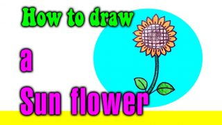 How to draw a Sun flower for kids