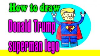 How to draw Donald Trump superman lego for kids