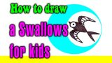 How to draw a Swallows for kids