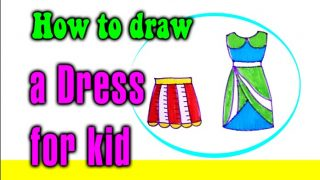 How to draw a Dress for kid
