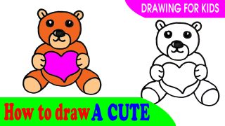 How to draw a cute BEAR easy