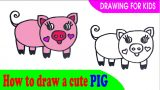 How to draw a CUTE PIG easy