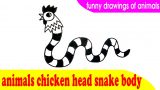 Animals chicken head snake body – Funny drawings of animals