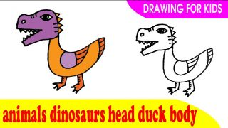How to draw a animals dinosaurs head duck body