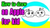 How to draw an APPLE cartoon for kid