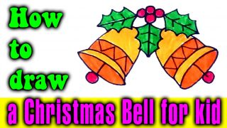 How to draw a Christmas Bell for kids