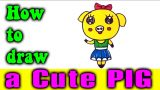 How to draw a Cute PIG easy for kids