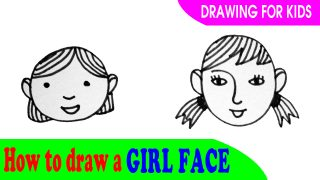 How to draw a Girl's face easy for kids