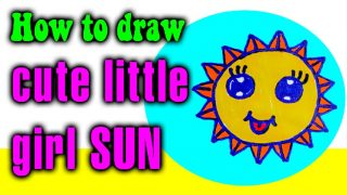 How to draw CUTE little girl SUN