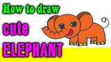 How to draw a CUTE ELEPHANT step by step