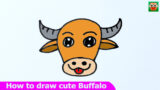 How to draw cute Buffalo easy step by step