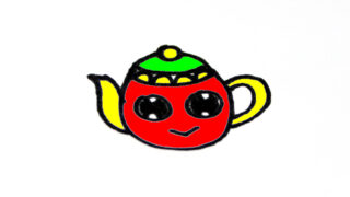 How to draw Cute TEAPOT easy step by step for kid